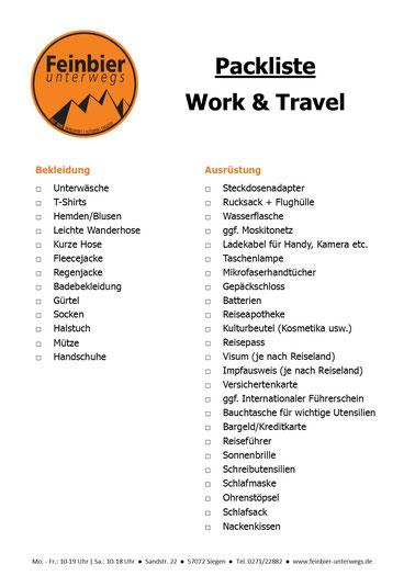 Packliste Work & Travel